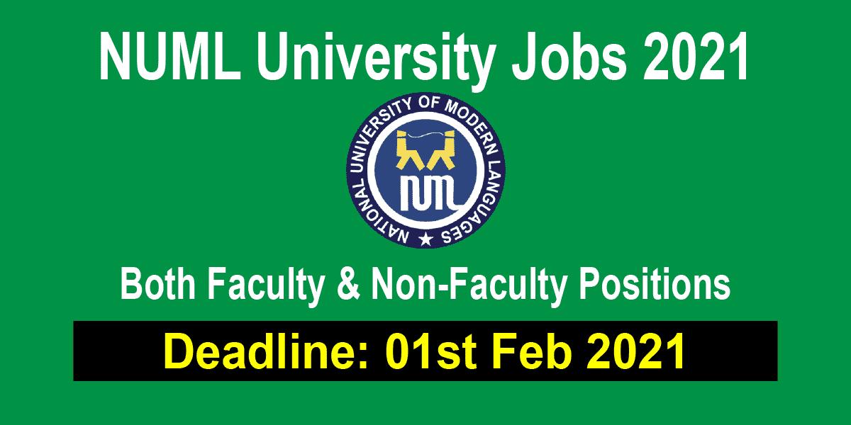 NUML University Jobs 2021