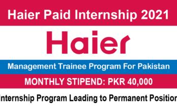 Haier Paid Internship