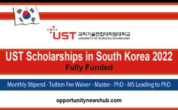 UST Scholarships in South Korea 2022