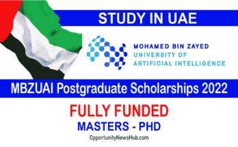 MBZUAI Postgraduate Scholarships