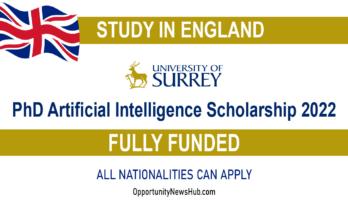 PhD Artificial Intelligence Scholarship 2022