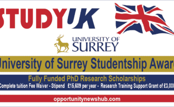 University of Surrey Studentship Award 2022