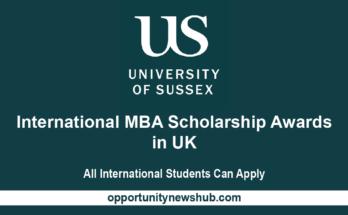 International MBA Scholarship Awards At University Of Sussex UK